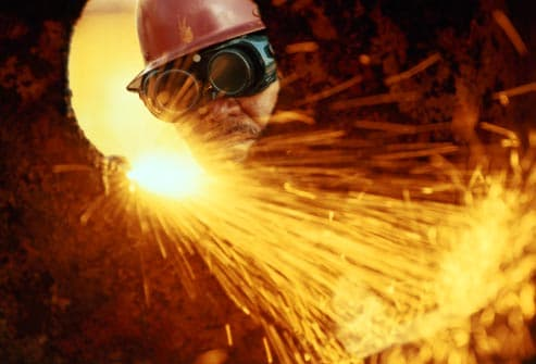 welder wearing eye protection