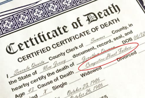 death certificate close up