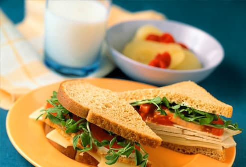 Turkey and swiss sandwich with milk