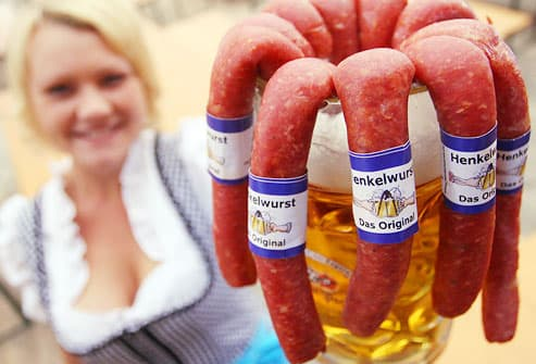 Oktoberfest beer mug with sausages