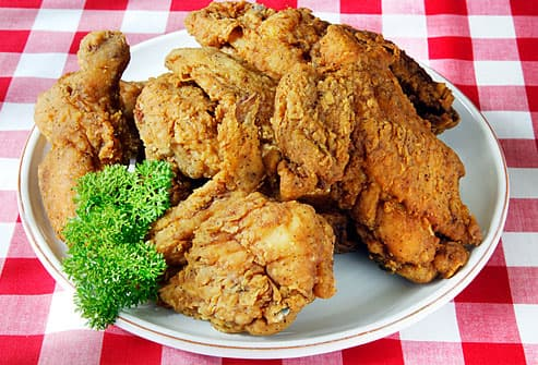 Plate of fried chicken