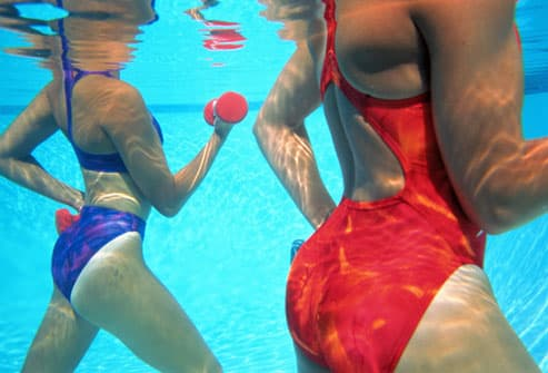 Women doing water aerobics with dumbbells