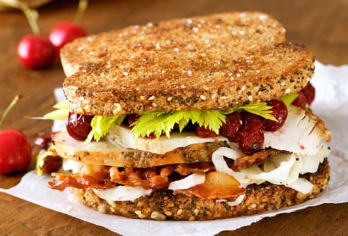 Turkey sandwich with cranberries