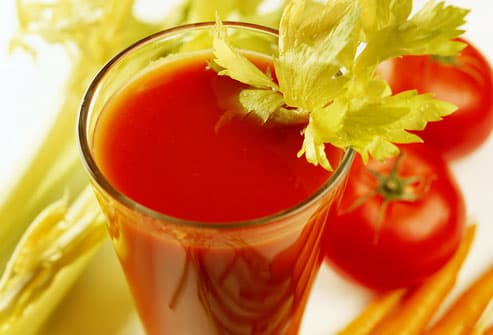 Vegetable juice with celery, carrots and tomatoes