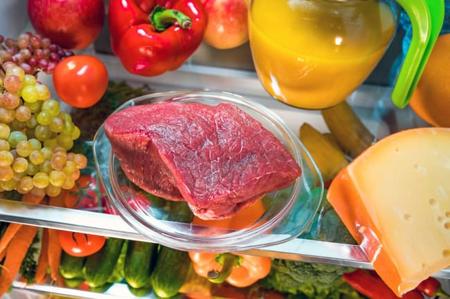 meat thawing in refrigerator
