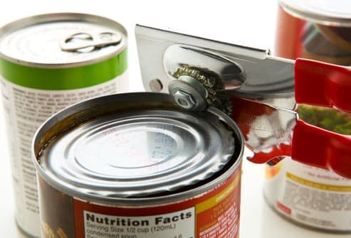 can opener and canned foods