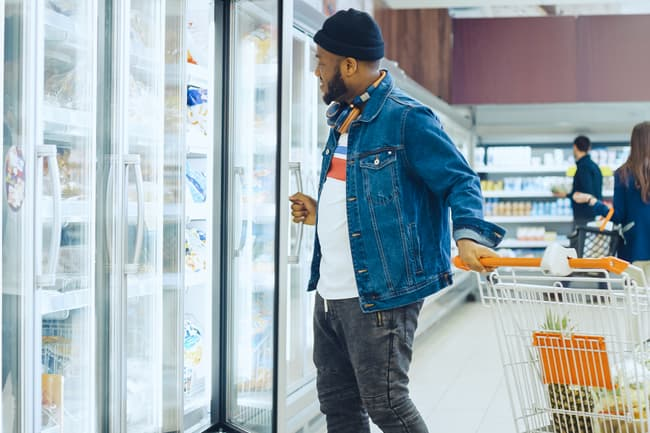 photo of man grocery shopping