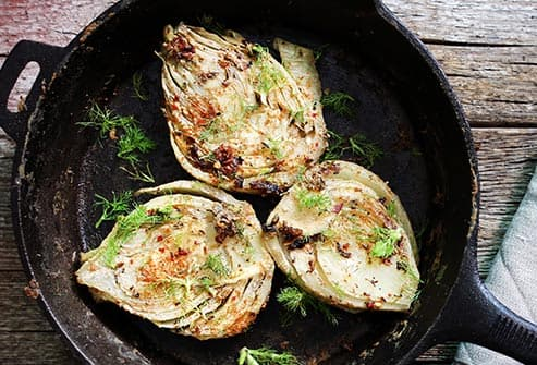 baked fennel in pan