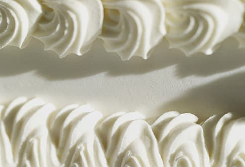 wedding cake frosting close up