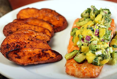 salmon sweet potatoes