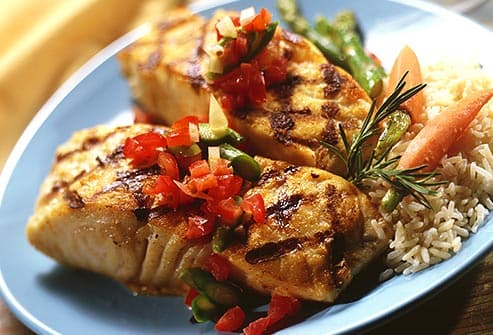 grilled fish with salsa and rice