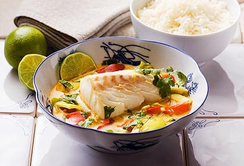spicy cod in curry sauce