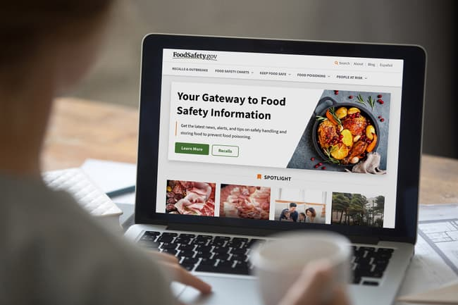 photo of woman visitng food safety website