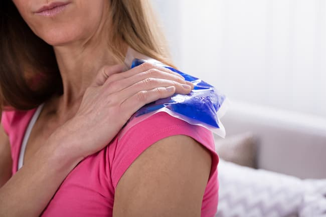 photo of ice pack on shoulder