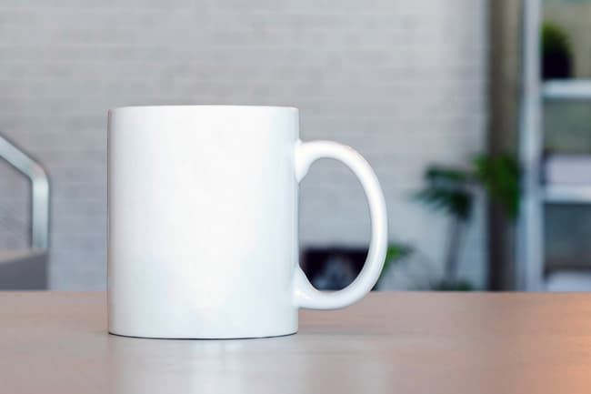 coffee mug on office desk