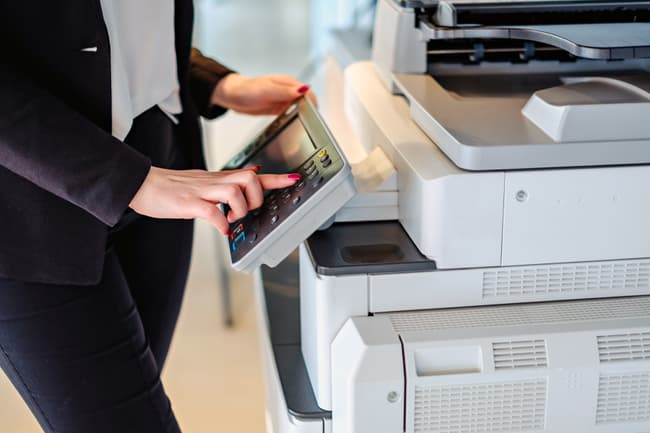 woman using office printer