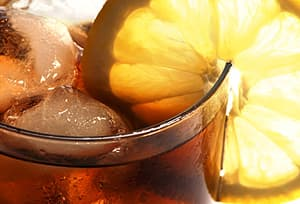 lemon garnish on cola