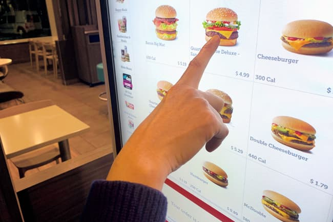 photo of fast food touch screen