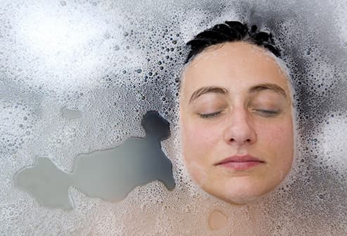 woman in hot bath
