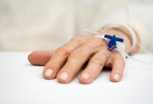 patient hand with IV drip