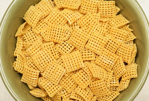 full bowl of corn chex cereal