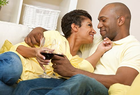 romantic couple with wine
