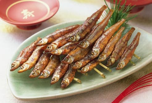 smelt fish on skewers
