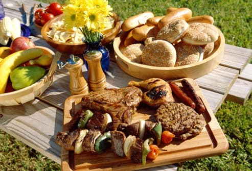 assortment of grilled foods