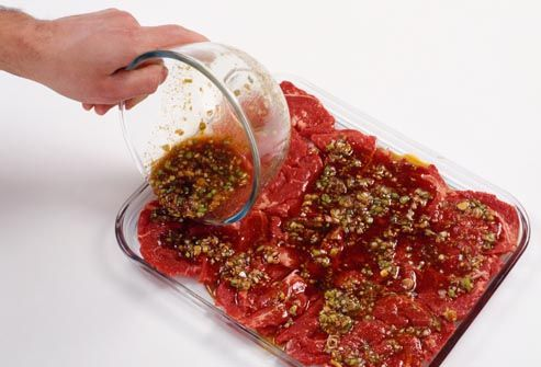 raw beef with marindade