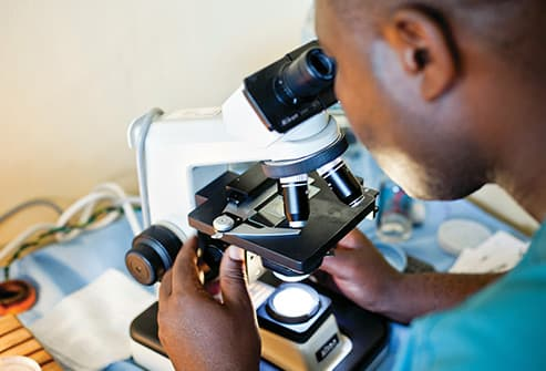 research scientist using microscope