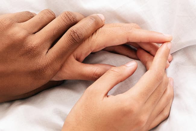 caressing hands
