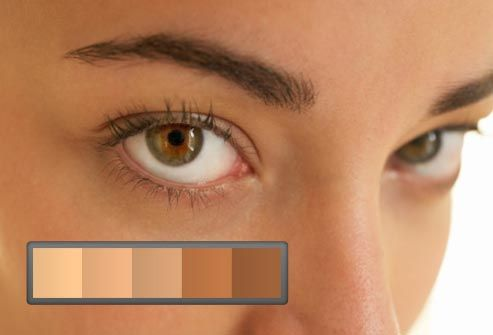 womans face with color bar