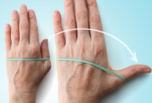 thumb extension exercise with rubberband