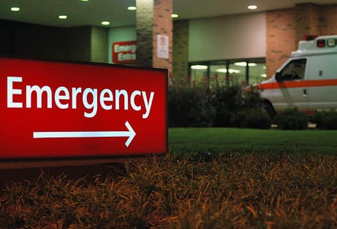 Emergency room entrance at night