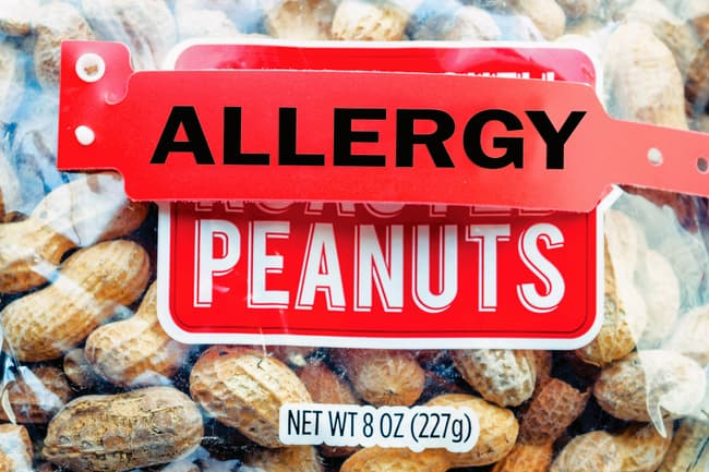 peanuts bag with allergy label