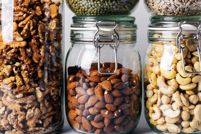 glass jars of nuts