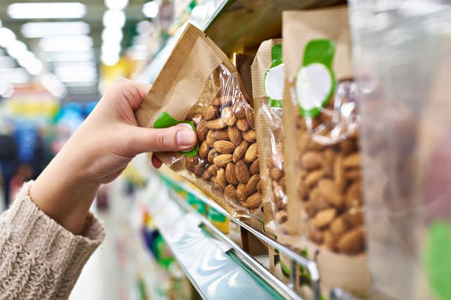 photo of nuts at grocery store