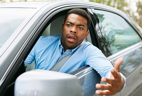frustrated man in car