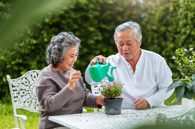 photo of couple watering plant