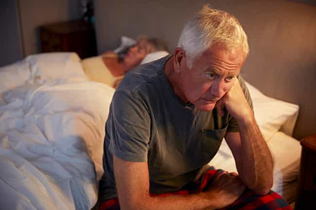 mature man with insomnia