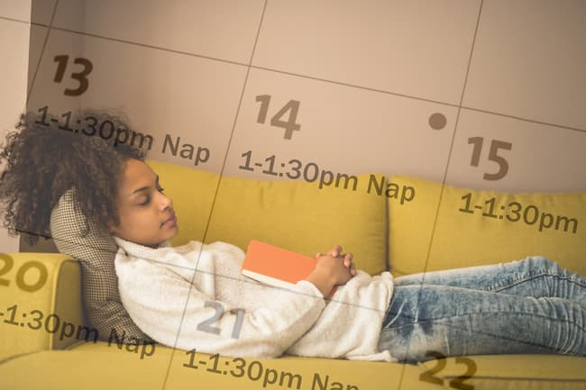 woman taking daily naps