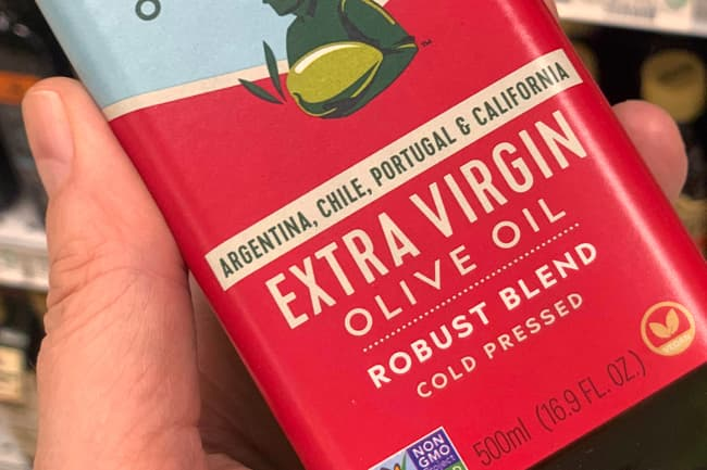 photo of extra virgin olive oil label