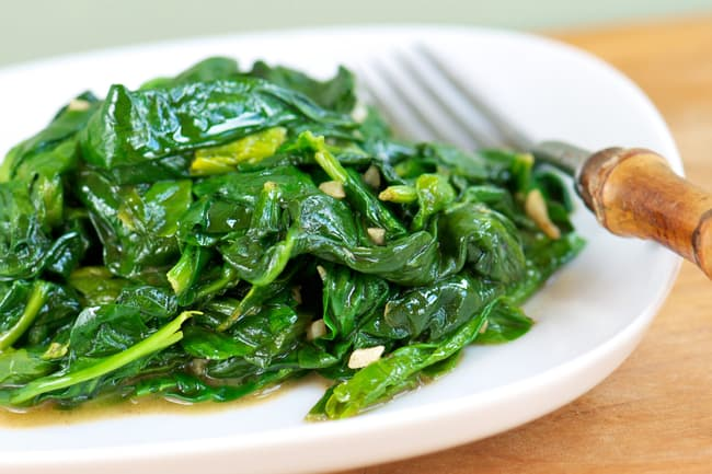 photo of sauteed spinach