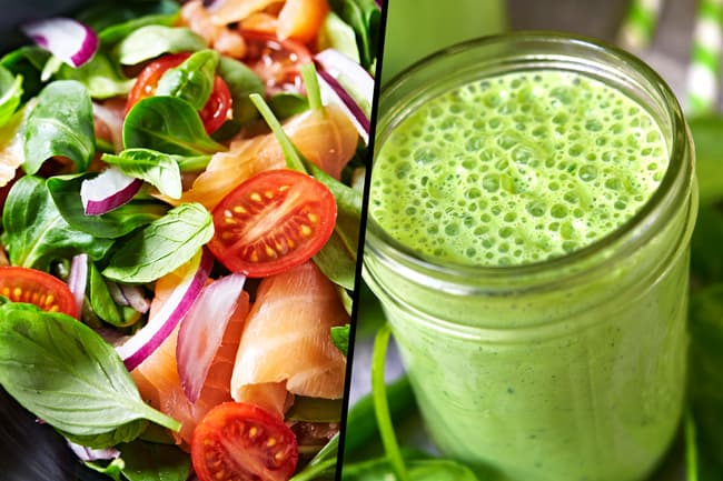 photo of spinach salad and smoothie diptych