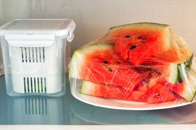 watermelon in refrigerator