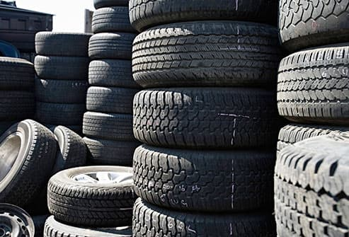 stacks of automobile tires