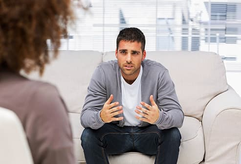 man going to talk therapy