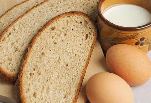 bread, milk and eggs