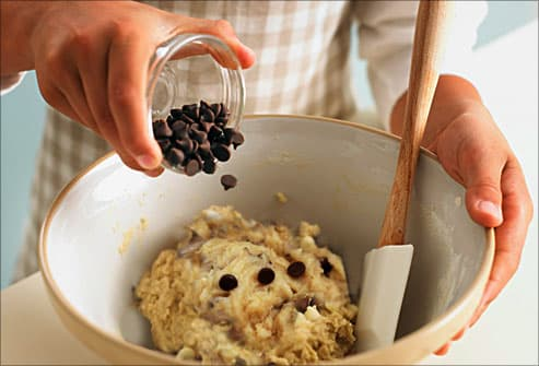 girl making cookie dough