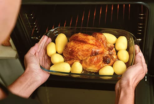 roasting chicken and potatoes